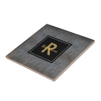 Monogrammed Name | Distressed Leather Look Brown Tile