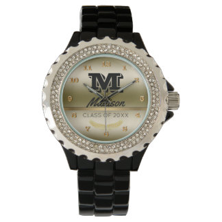 Monogrammed Name Initial | Black Gold Graduation Wristwatches
