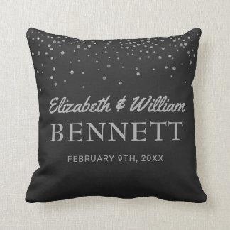 Monogrammed Names | Black Silver Wedding Keepsake Throw Pillow
