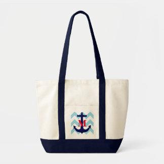 Monogrammed Nautical Tote Impulse Tote Bag