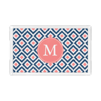 Monogrammed Navy and Coral Ikat Diamonds Pattern Acrylic Tray