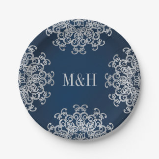 Monogrammed Navy and Silver Indian Style Wedding 7 Inch Paper Plate