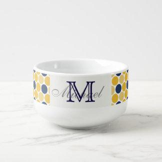 Monogrammed Navy and Yellow Soup Mug