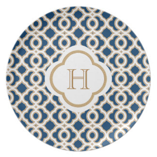 Monogrammed Navy Blue and Gold Moroccan Plate