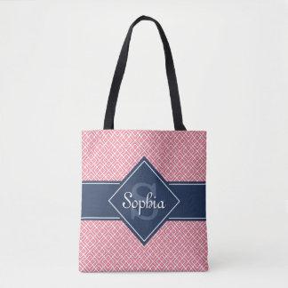 Monogrammed Navy Blue and Pink Diamond Pattern Tote Bag