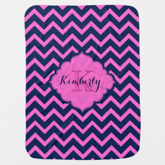 Monogrammed Navy-Blue And Pink Zigzag Chevron Receiving Blankets