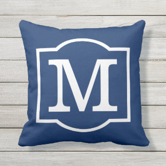 Monogrammed | Navy Blue and White Throw Pillow