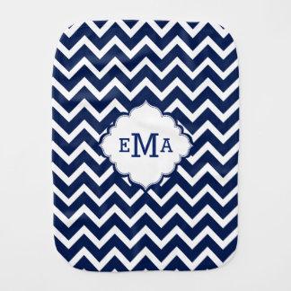 Monogrammed Navy Blue And White Zigzag Chevron Burp Cloths
