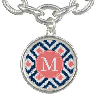 Monogrammed Navy Blue Coral Ikat Pattern Bracelet