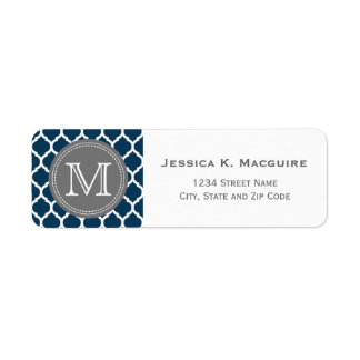 Monogrammed Navy Blue & Grey Return Address Label