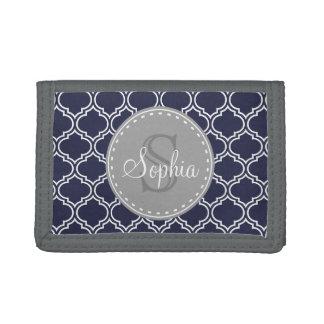 Monogrammed Navy Blue Lattice Pattern Tri-fold Wallet