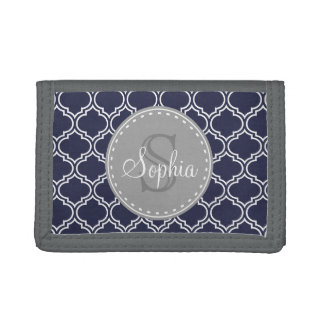 Monogrammed Navy Blue Lattice Pattern Tri-fold Wallets