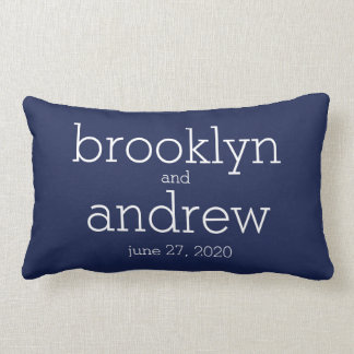 Monogrammed Navy Blue Modern Wedding Pillows