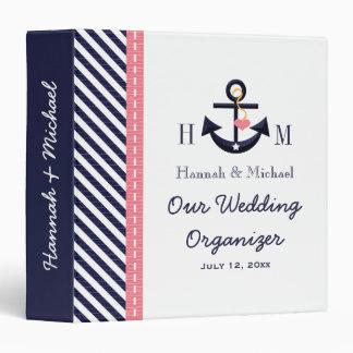 Monogrammed Navy Blue Pink Anchor Wedding Planner Vinyl Binder