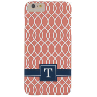 Monogrammed Navy Blue Pink Lattice Pattern Barely There iPhone 6 Plus Case