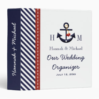 Monogrammed Navy Blue Red Anchor Wedding Planner Vinyl Binder