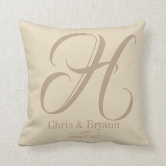 Monogrammed neutral colored Wedding Pillow