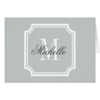 Monogrammed note cards with elegant border
