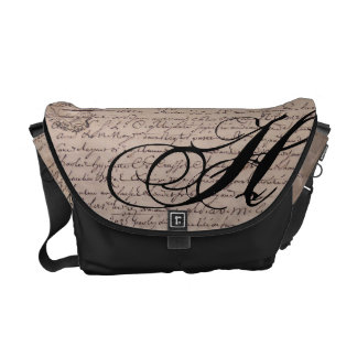 Monogrammed Old French Document Vintage Writings Courier Bags