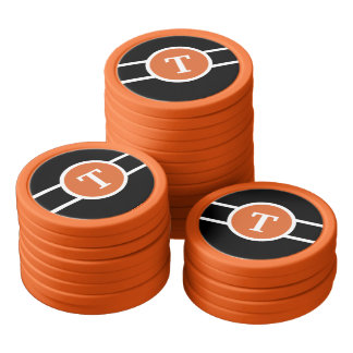 Monogrammed ~ Orange Poker Chips