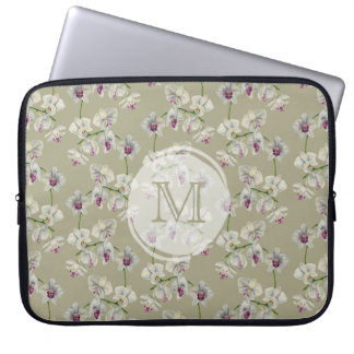 Monogrammed Orchid Watercolor Painting Laptop Sleeve