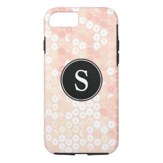 Monogrammed Organic Peach Sequin Glitter iPhone 7 Case
