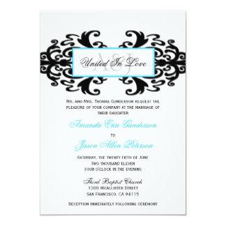 Monogrammed Ornamental Damask Wedding Invite