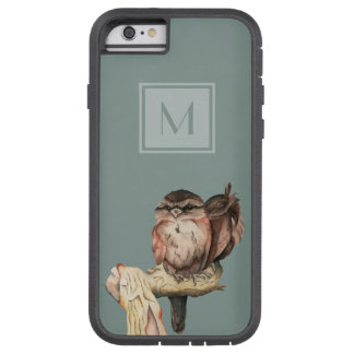 Monogrammed Owl Siblings Watercolor Portrait Tough Xtreme iPhone 6 Case