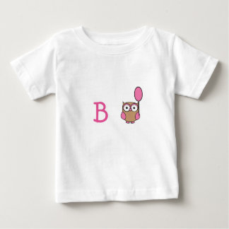 Monogrammed Owl with Pink Balloon Baby T-Shirt