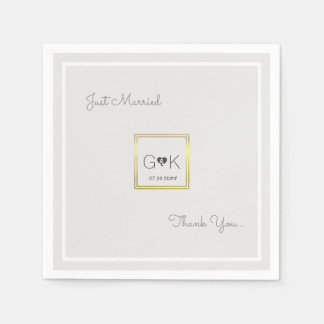 monogrammed pale gray wedding disposable napkins