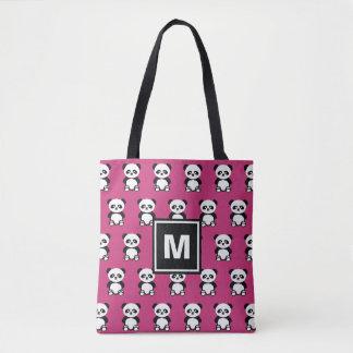 Monogrammed Panda Bear Animal Kawaii Pink Tote Bag