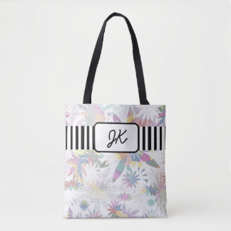 Monogrammed Pastel Floral Tote Bag