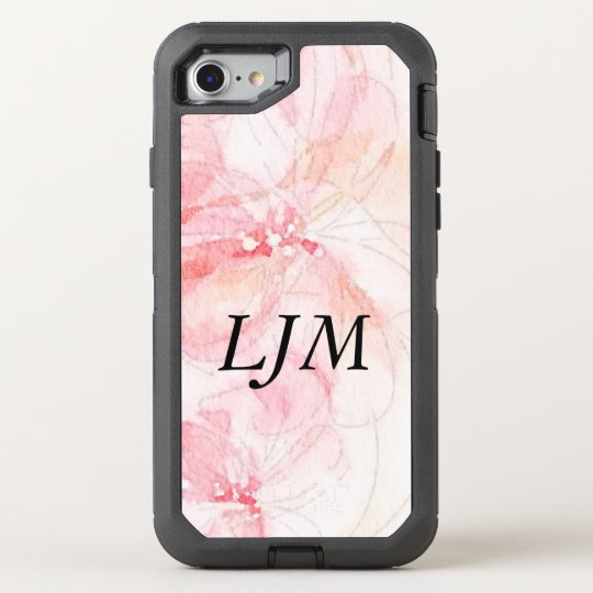 Monogrammed Pastel Pink Floral Watercolor OtterBox Defender iPhone 7 Case