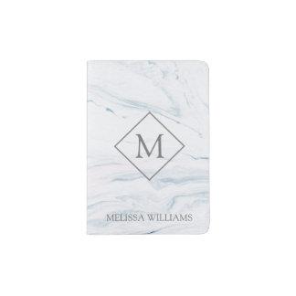 Monogrammed Pastel Tones Marble Passport Holder