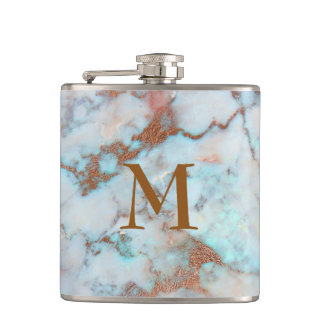 Monogrammed Pastel Tones Marble Stone Hip Flask