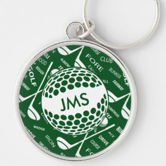Monogrammed Pattern for the Golfer Silver-Colored Round Keychain