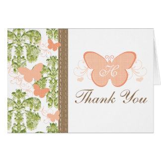 MONOGRAMMED PEACH BUTTERFLY WEDDING THANK YOU CARD