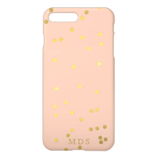 Monogrammed Peachy Pink Gold Confetti iPhone 8 Plus/7 Plus Case