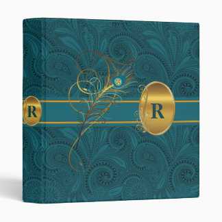 Monogrammed Peacock and Gold Paisely Wedding Binder