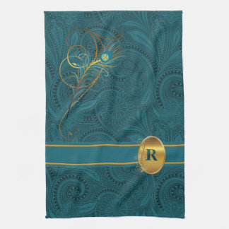 Monogrammed Peacock for the Kitchen Kitchen Towel