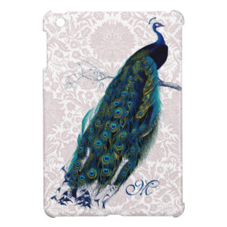 Monogrammed Peacock on Pink Damask Cover For The iPad Mini