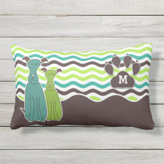 Monogrammed Pet Lover's Come Sit Stay Cute Dog Outdoor Pillow