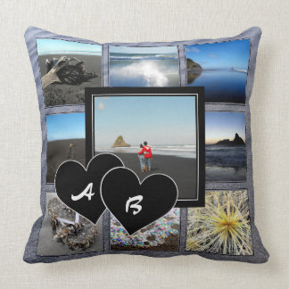 Monogrammed Photo Collage Throw Pillow