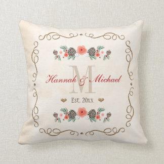 Monogrammed Pine Cone Christmas Wedding Year Throw Pillow