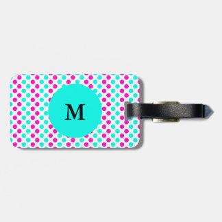 Monogrammed Pink and Blue Polka Dots Luggage Tag