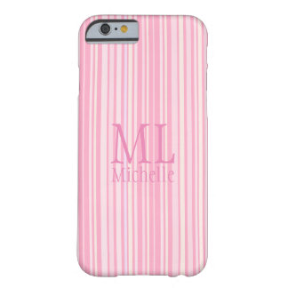 Monogrammed Pink and Coral Striped Cell Phone Case