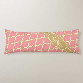 Monogrammed Pink and Gold Lattice Pattern Body Pillow