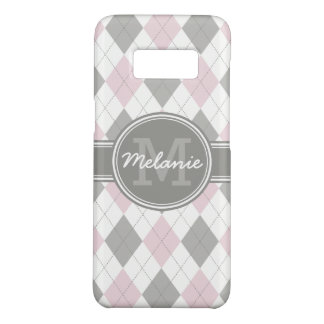 Monogrammed Pink and Gray Argyle Pattern Case-Mate Samsung Galaxy S8 Case