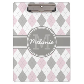 Monogrammed Pink and Gray Argyle Pattern Clipboard