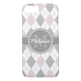 Monogrammed Pink and Gray Argyle Pattern iPhone 7 Case